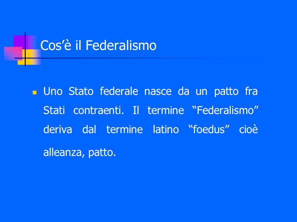 Cos'è il Federalismo Uno Stato federale nasce da un patto fra Stati contraenti.