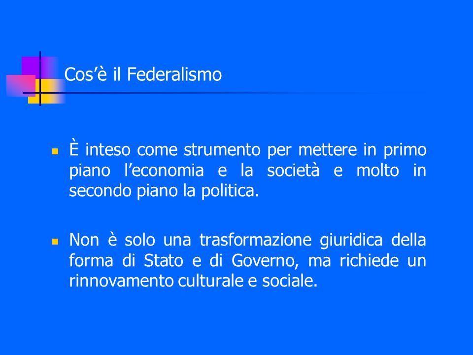 Cos'è il Federalismo È inteso come strumento per mettere in primo piano l'economia e la società e molto in secondo piano la politica.