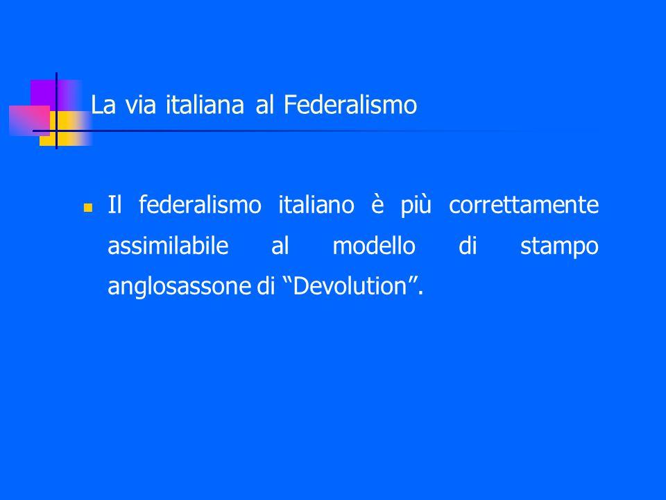 La via italiana al Federalismo Il federalismo italiano è più correttamente assimilabile al modello di stampo anglosassone di Devolution .