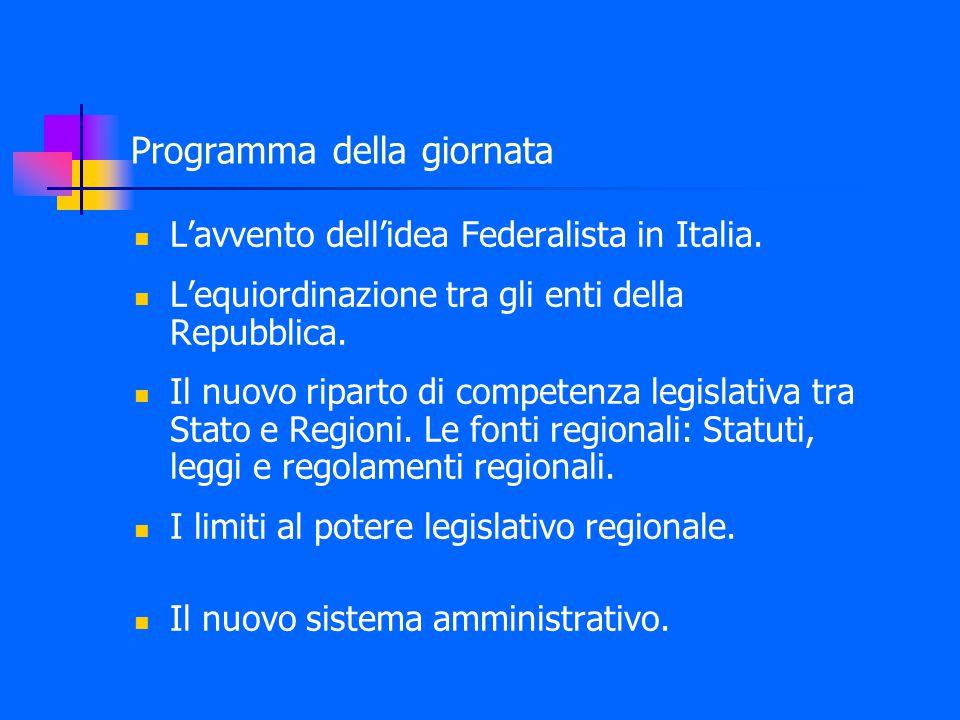 Programma della giornata L'avvento dell'idea Federalista in Italia.