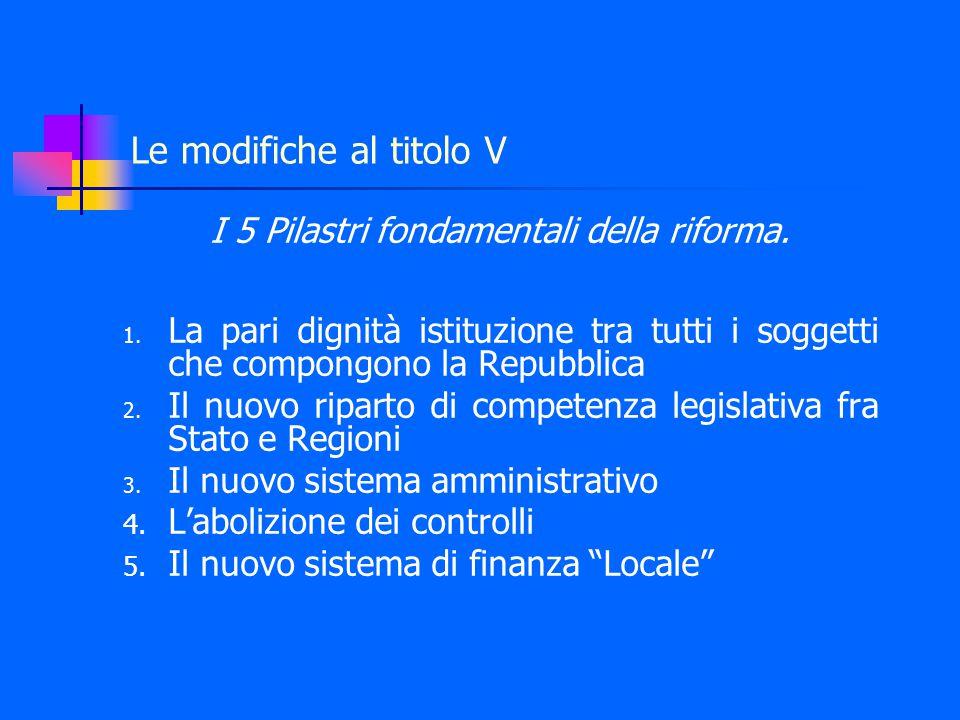 Le modifiche al titolo V I 5 Pilastri fondamentali della riforma.