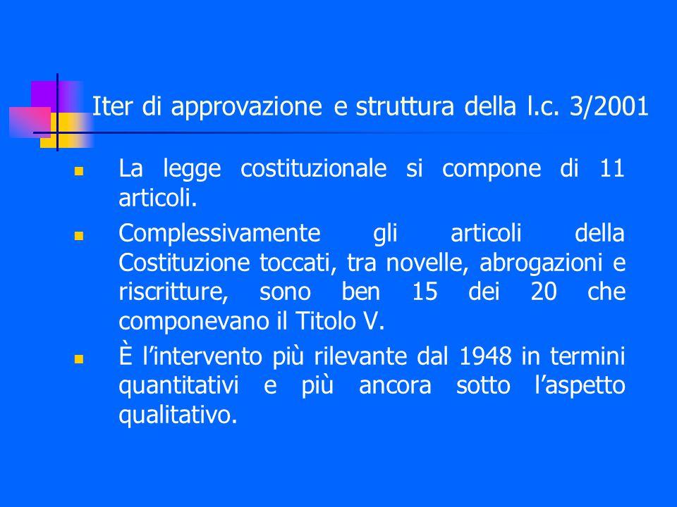 Iter di approvazione e struttura della l.c.