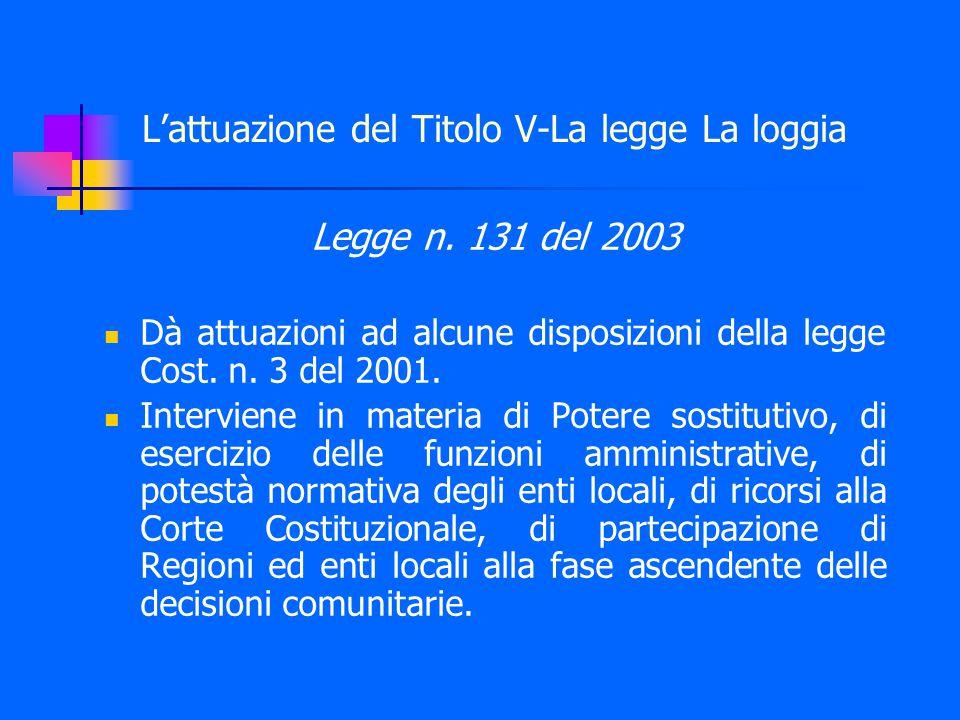 L'attuazione del Titolo V-La legge La loggia Legge n.