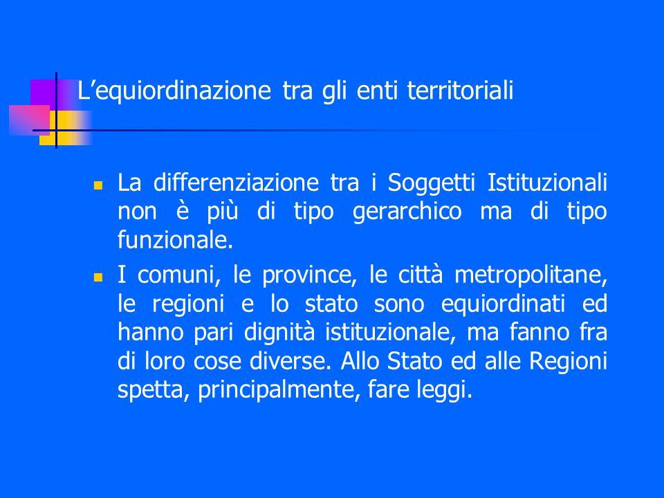 L'equiordinazione tra gli enti territoriali La differenziazione tra i Soggetti Istituzionali non è più di tipo gerarchico ma di tipo funzionale.