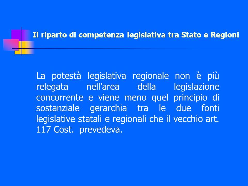 Il riparto di competenza legislativa tra Stato e Regioni La potestà legislativa regionale non è più relegata nell'area della legislazione concorrente e viene meno quel principio di sostanziale gerarchia tra le due fonti legislative statali e regionali che il vecchio art.