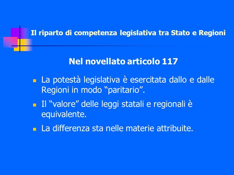 Nel novellato articolo 117 La potestà legislativa è esercitata dallo e dalle Regioni in modo paritario .