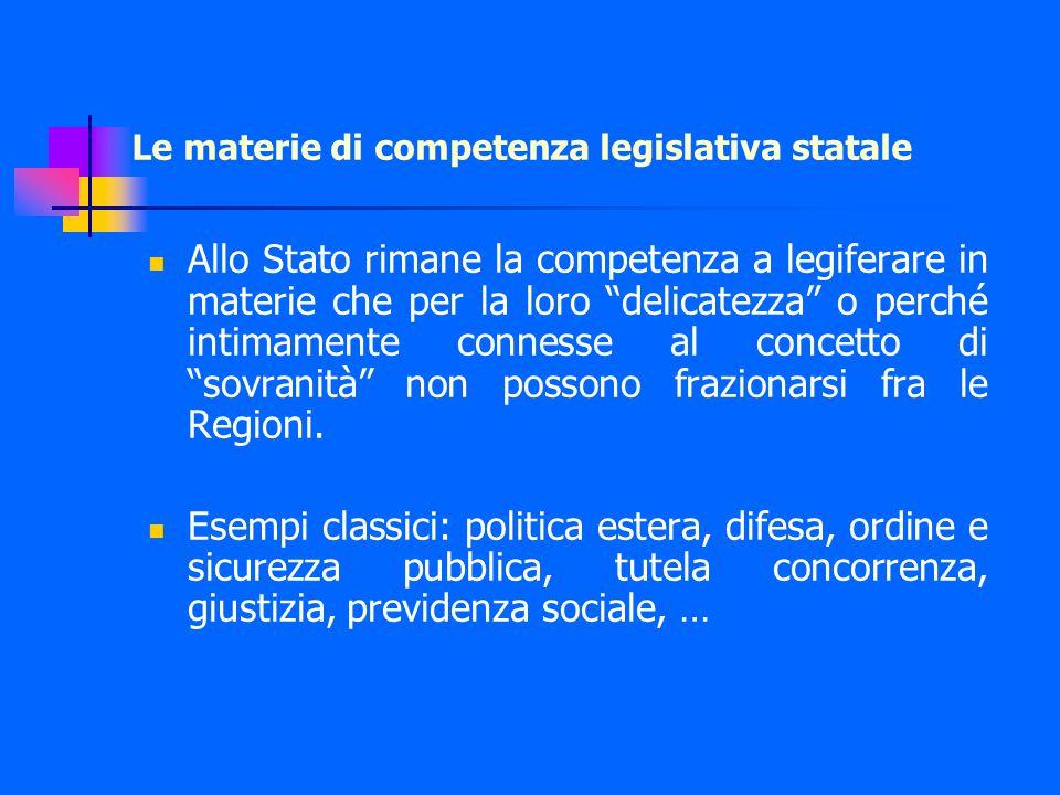 Le materie di competenza legislativa statale Allo Stato rimane la competenza a legiferare in materie che per la loro delicatezza o perché intimamente connesse al concetto di sovranità non possono frazionarsi fra le Regioni.
