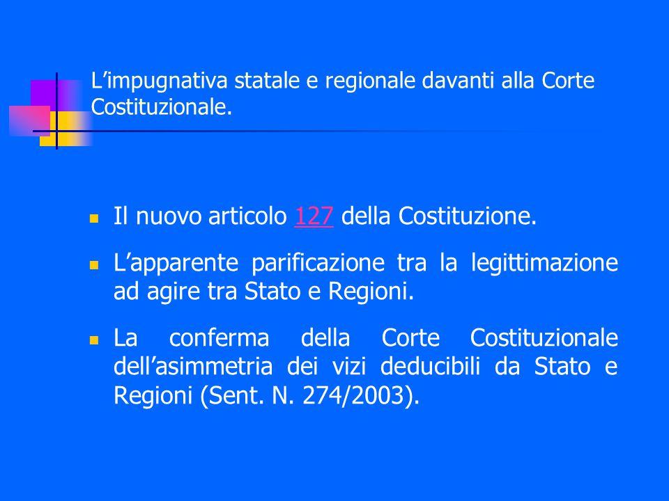 L'impugnativa statale e regionale davanti alla Corte Costituzionale.