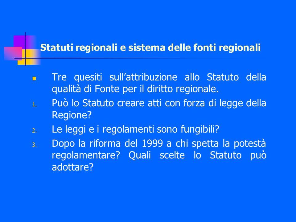 Tre quesiti sull'attribuzione allo Statuto della qualità di Fonte per il diritto regionale.