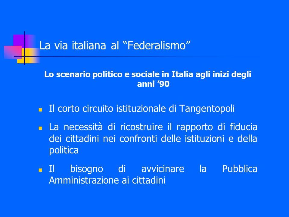 Il federalismo amministrativo Le leggi Bassanini attuano un decentramento vigoroso di compiti e funzioni amministrative verso Regioni, Province e Comuni.