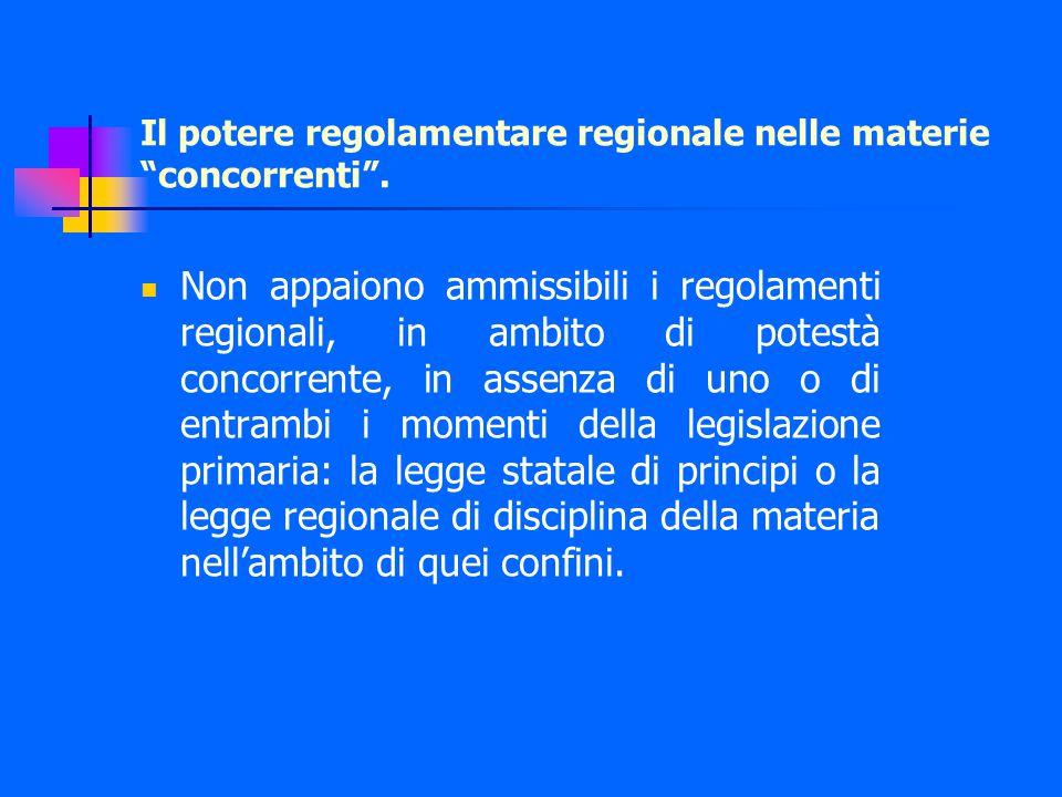 Il potere regolamentare regionale nelle materie concorrenti .