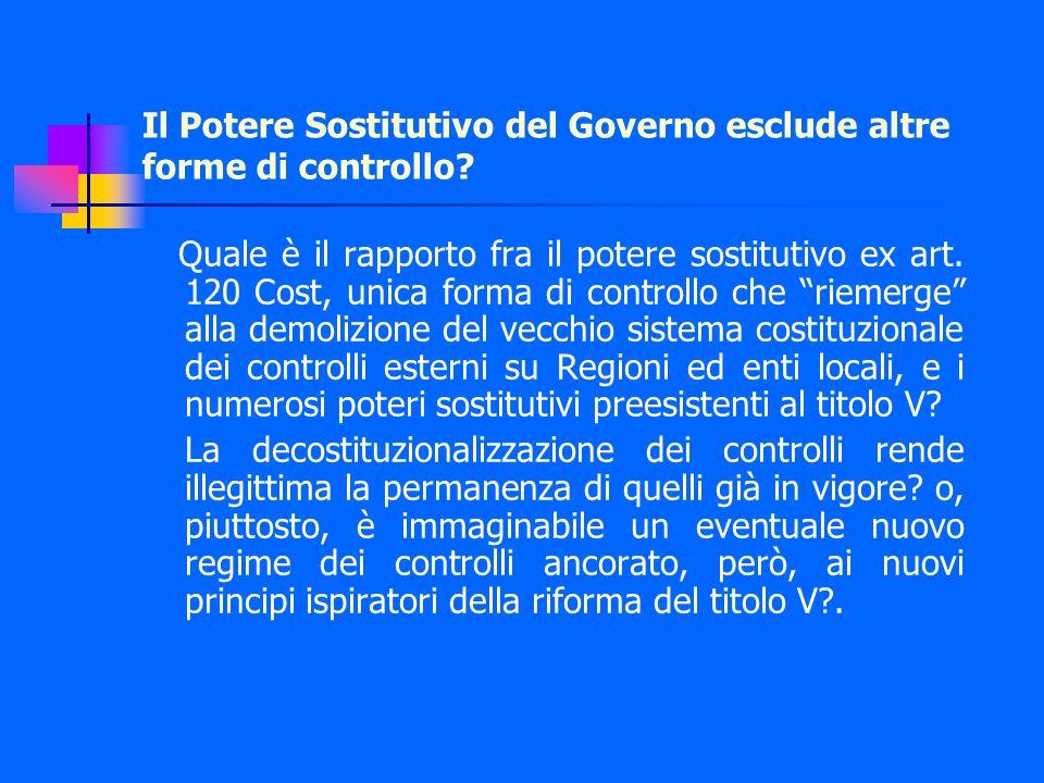 Il Potere Sostitutivo del Governo esclude altre forme di controllo.