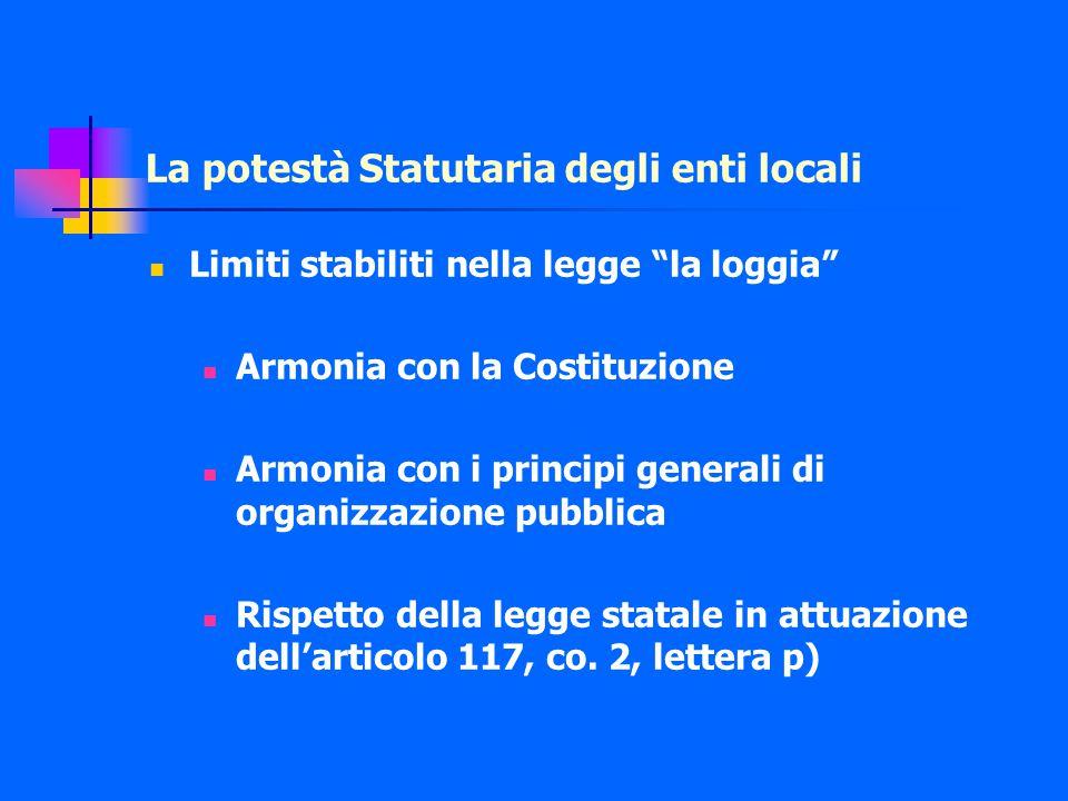 La potestà Statutaria degli enti locali Limiti stabiliti nella legge la loggia Armonia con la Costituzione Armonia con i principi generali di organizzazione pubblica Rispetto della legge statale in attuazione dell'articolo 117, co.