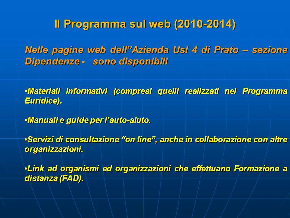 Nelle pagine web dell''Azienda Usl 4 di Prato – sezione Dipendenze - sono disponibili Materiali informativi (compresi quelli realizzati nel Programma Euridice).Materiali informativi (compresi quelli realizzati nel Programma Euridice).