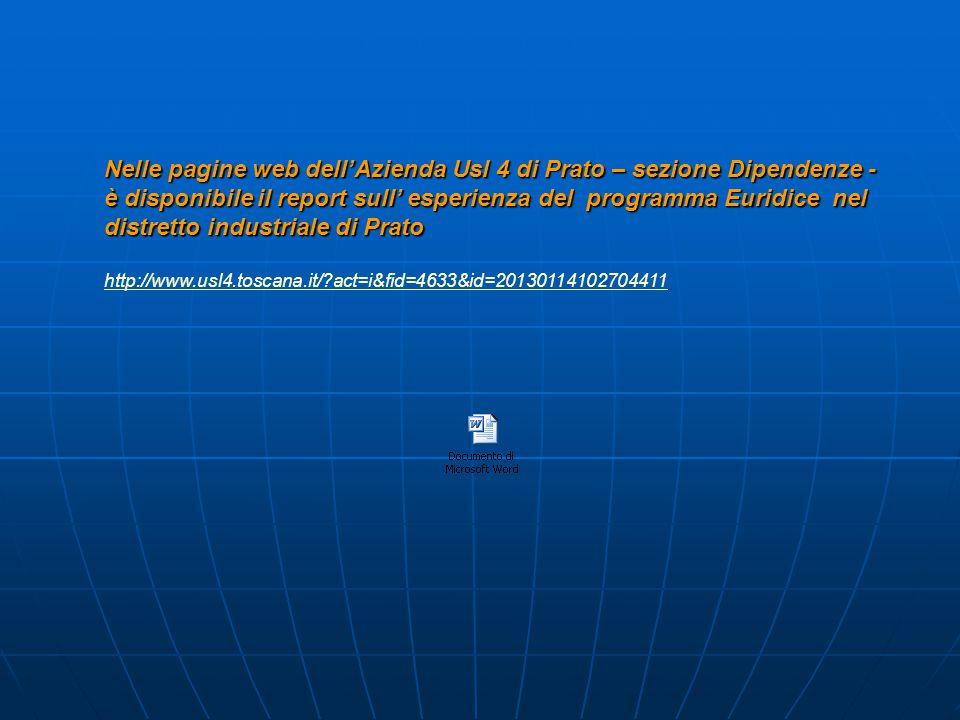 Nelle pagine web dell'Azienda Usl 4 di Prato – sezione Dipendenze - è disponibile il report sull' esperienza del programma Euridice nel distretto industriale di Prato http://www.usl4.toscana.it/ act=i&fid=4633&id=20130114102704411