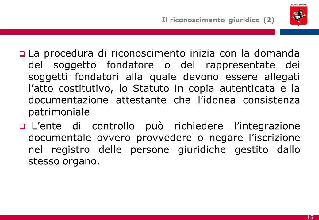 13 Il riconoscimento giuridico (2)  La procedura di riconoscimento inizia con la domanda del soggetto fondatore o del rappresentate dei soggetti fond