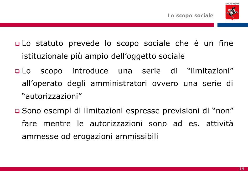 14 Lo scopo sociale  Lo statuto prevede lo scopo sociale che è un fine istituzionale più ampio dell'oggetto sociale  Lo scopo introduce una serie di