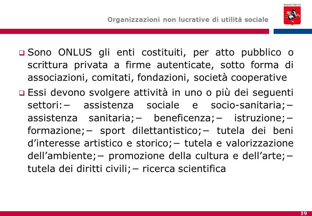 19 Organizzazioni non lucrative di utilità sociale  Sono ONLUS gli enti costituiti, per atto pubblico o scrittura privata a firme autenticate, sotto