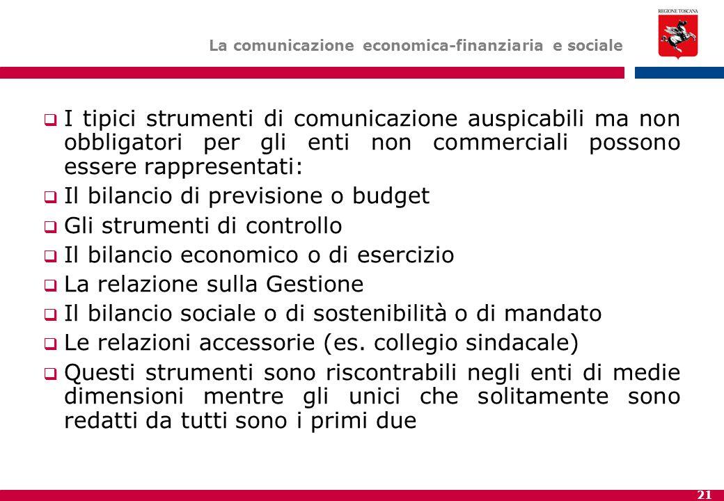 21 La comunicazione economica-finanziaria e sociale  I tipici strumenti di comunicazione auspicabili ma non obbligatori per gli enti non commerciali