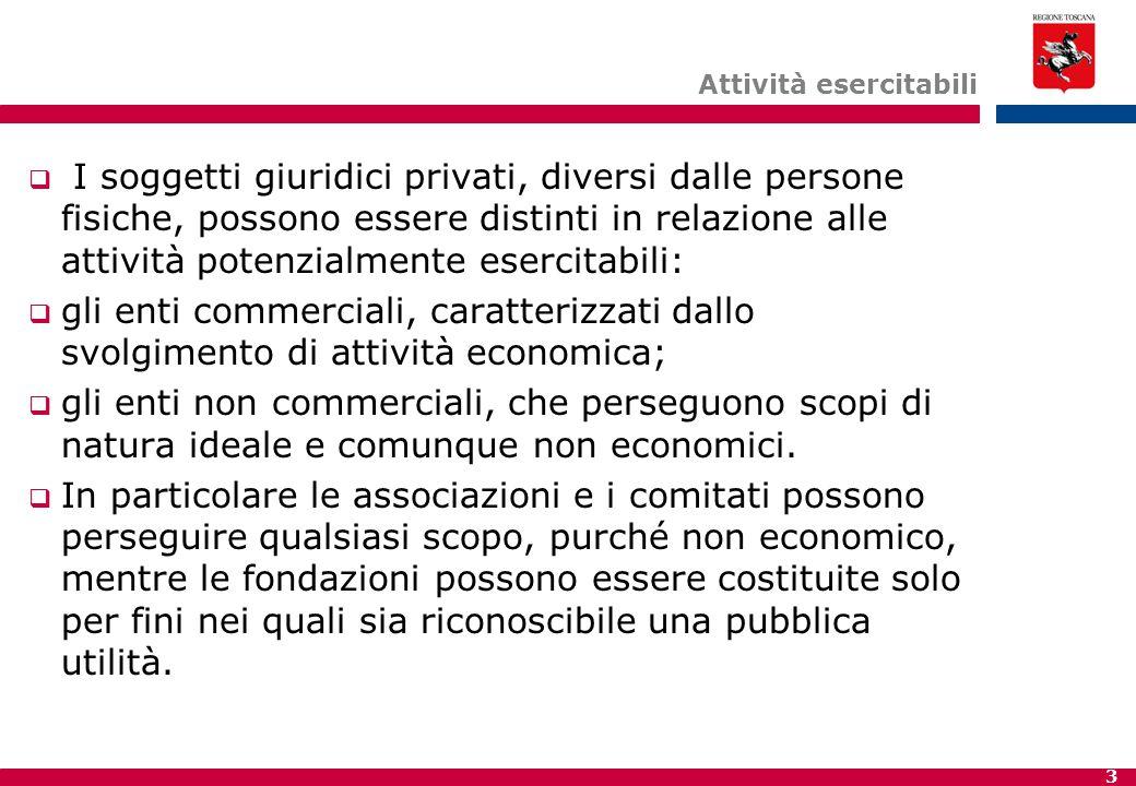 3 Attività esercitabili  I soggetti giuridici privati, diversi dalle persone fisiche, possono essere distinti in relazione alle attività potenzialmen
