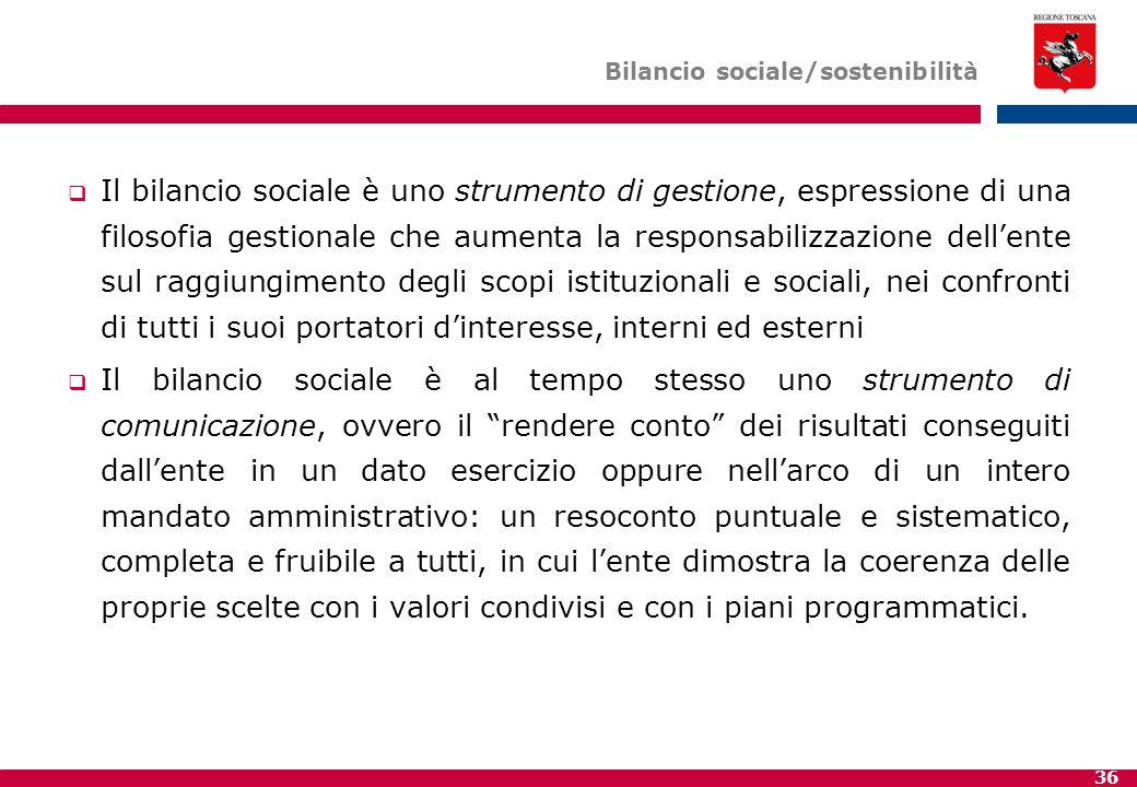 36 Bilancio sociale/sostenibilità  Il bilancio sociale è uno strumento di gestione, espressione di una filosofia gestionale che aumenta la responsabi