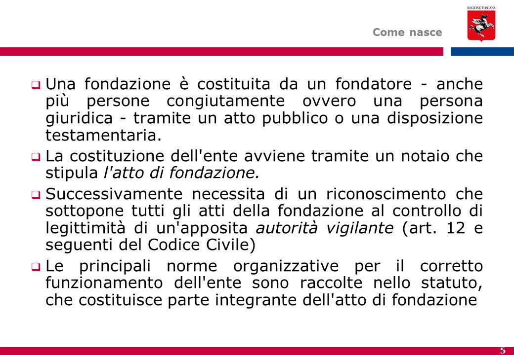 5 Come nasce  Una fondazione è costituita da un fondatore - anche più persone congiutamente ovvero una persona giuridica - tramite un atto pubblico o