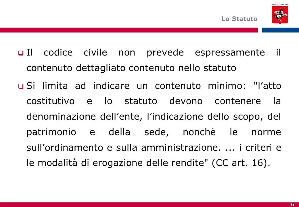 6 Lo Statuto  Il codice civile non prevede espressamente il contenuto dettagliato contenuto nello statuto  Si limita ad indicare un contenuto minimo