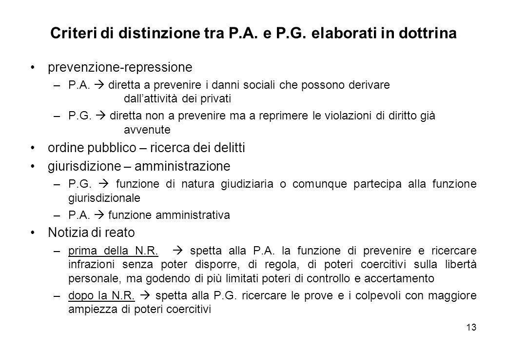 13 Criteri di distinzione tra P.A. e P.G. elaborati in dottrina prevenzione-repressione –P.A.  diretta a prevenire i danni sociali che possono deriva