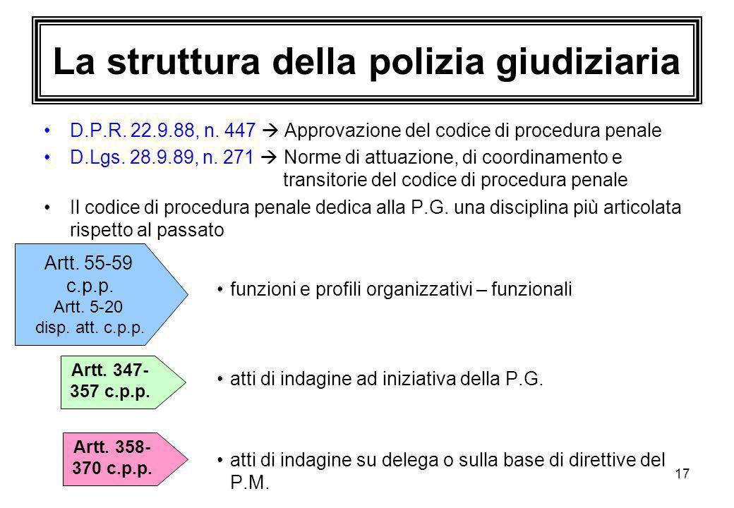 17 La struttura della polizia giudiziaria D.P.R. 22.9.88, n. 447  Approvazione del codice di procedura penale D.Lgs. 28.9.89, n. 271  Norme di attua