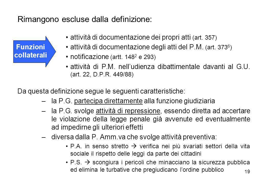 19 Rimangono escluse dalla definizione: attività di documentazione dei propri atti (art. 357) attività di documentazione degli atti del P.M. (art. 373