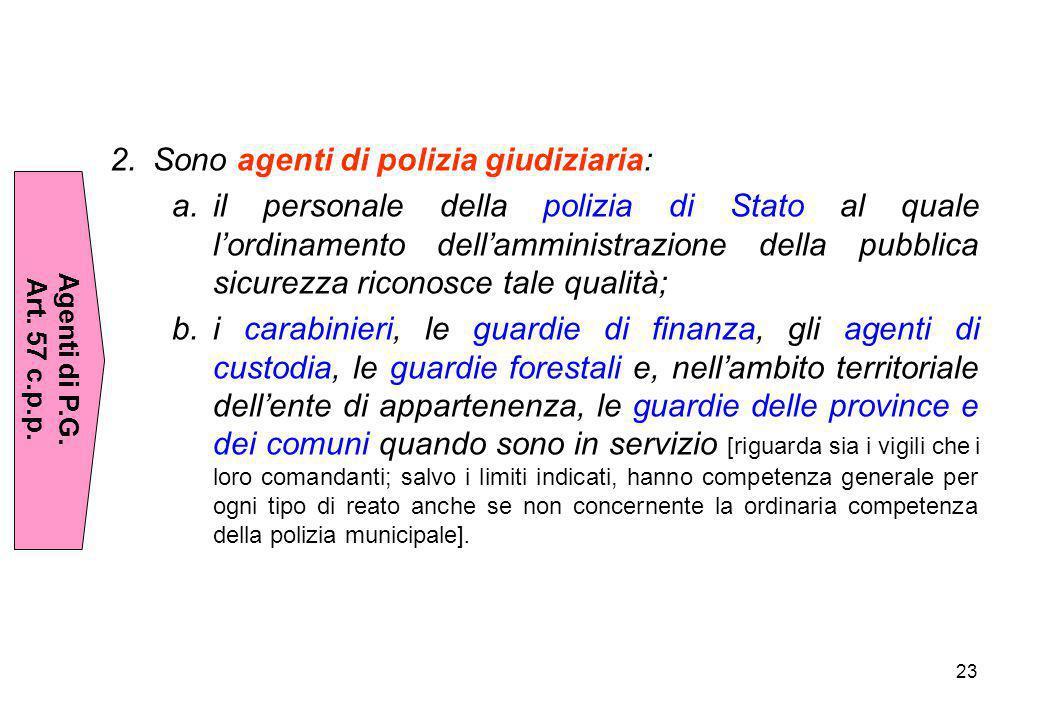 23 2.Sono agenti di polizia giudiziaria: a.il personale della polizia di Stato al quale l'ordinamento dell'amministrazione della pubblica sicurezza ri