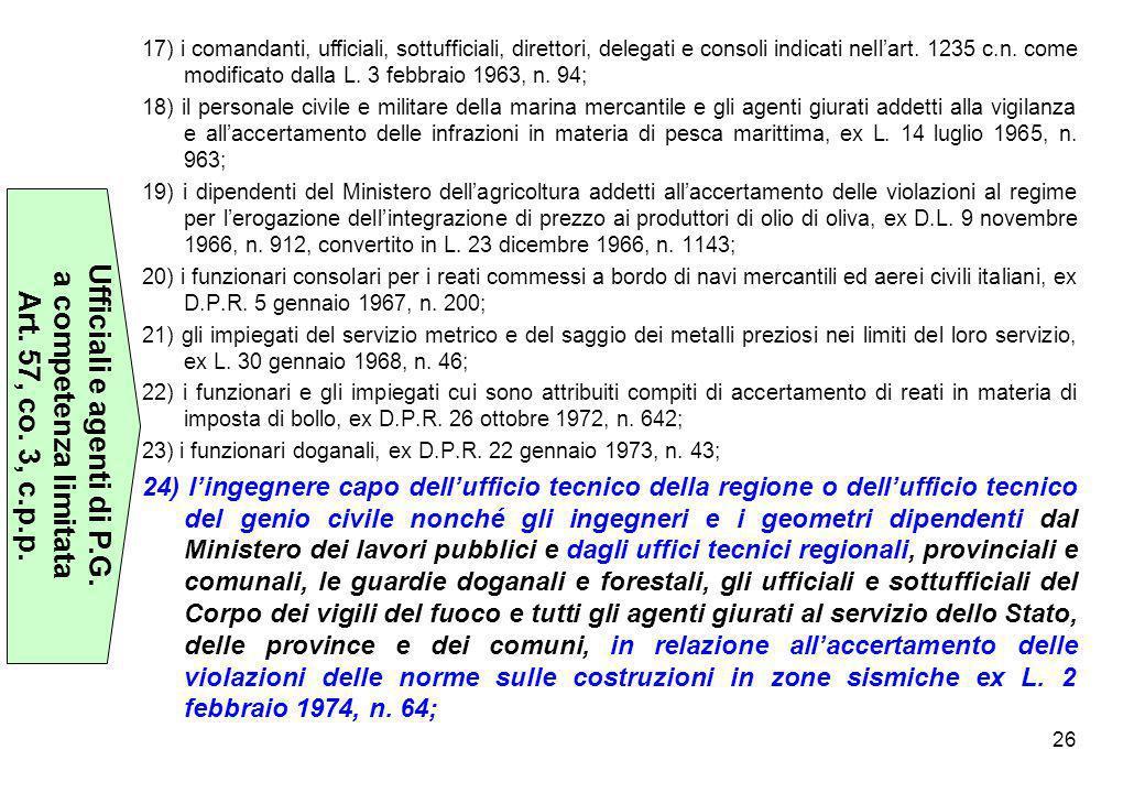 26 17) i comandanti, ufficiali, sottufficiali, direttori, delegati e consoli indicati nell'art. 1235 c.n. come modificato dalla L. 3 febbraio 1963, n.