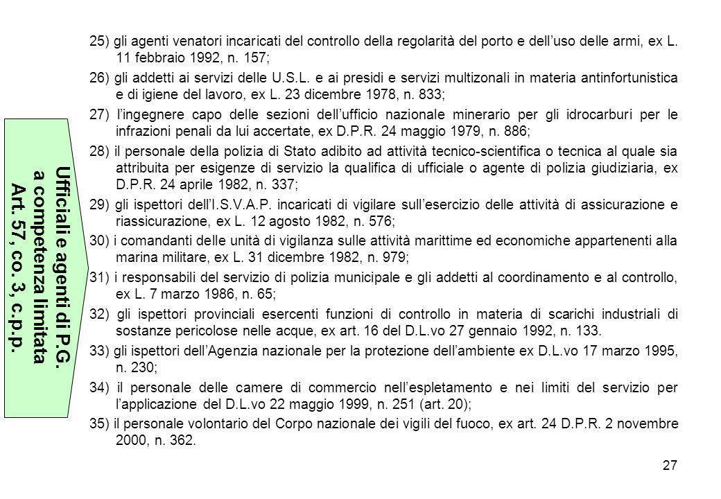 27 25) gli agenti venatori incaricati del controllo della regolarità del porto e dell'uso delle armi, ex L. 11 febbraio 1992, n. 157; 26) gli addetti