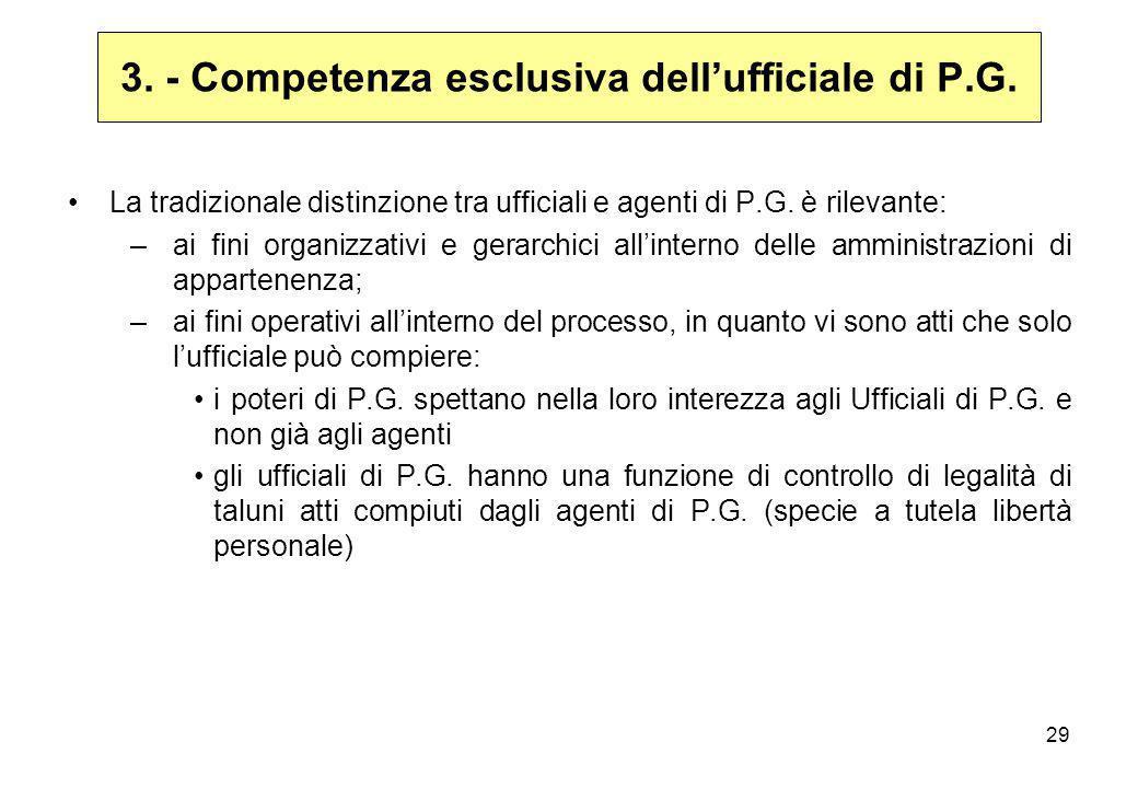 29 3. - Competenza esclusiva dell'ufficiale di P.G. La tradizionale distinzione tra ufficiali e agenti di P.G. è rilevante: –ai fini organizzativi e g