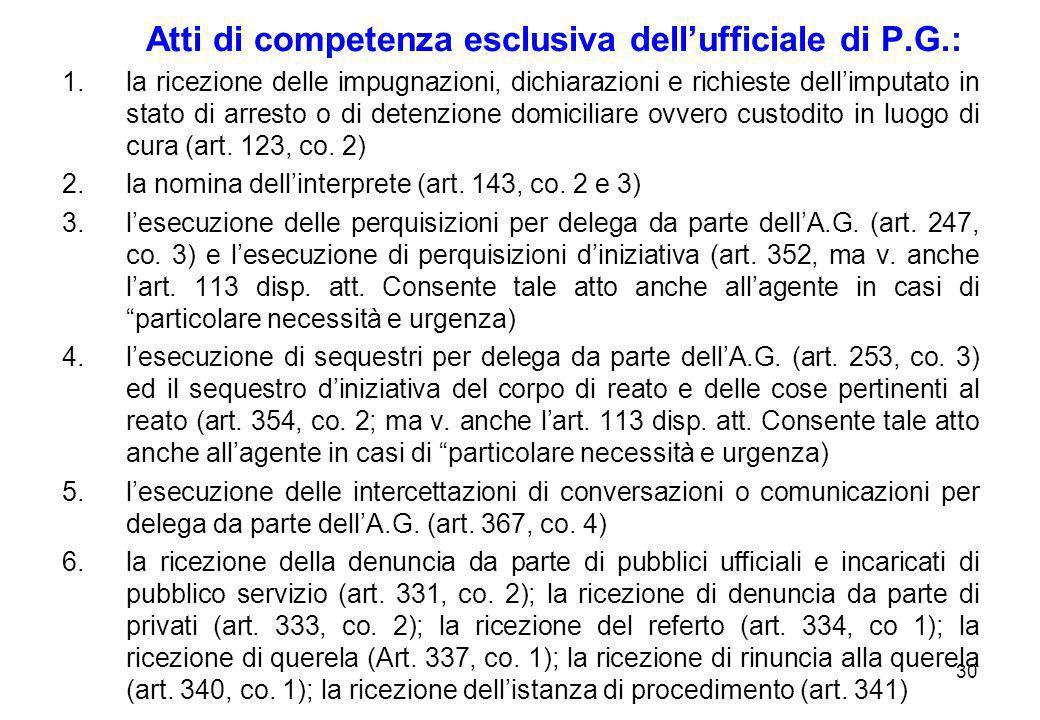 30 Atti di competenza esclusiva dell'ufficiale di P.G.: 1.la ricezione delle impugnazioni, dichiarazioni e richieste dell'imputato in stato di arresto
