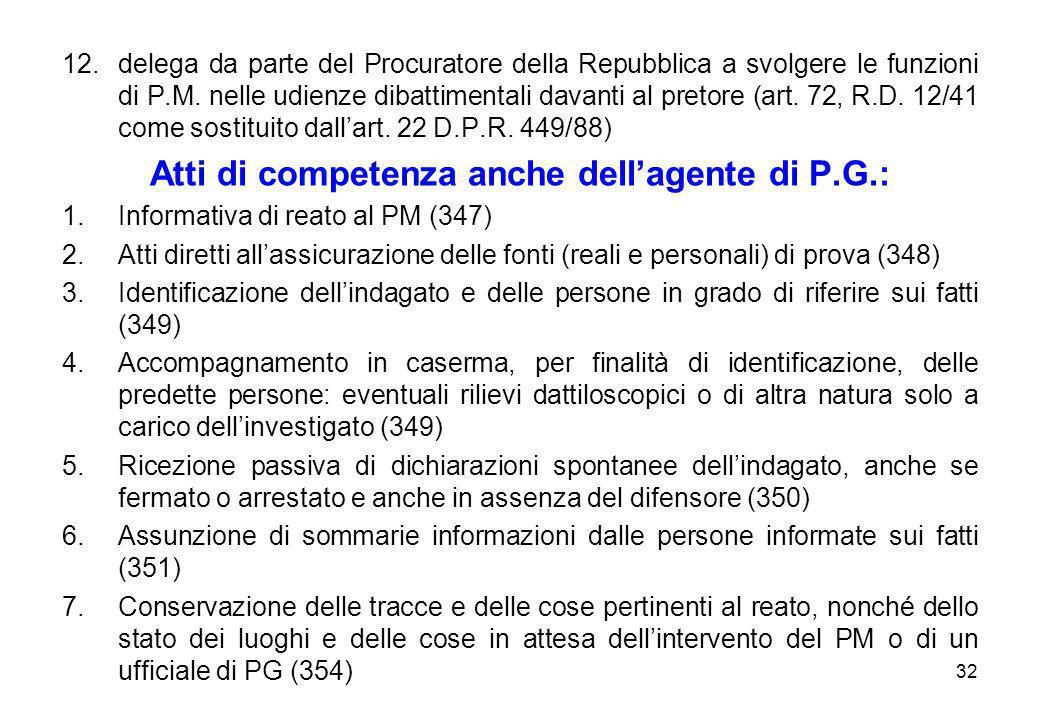 32 12.delega da parte del Procuratore della Repubblica a svolgere le funzioni di P.M. nelle udienze dibattimentali davanti al pretore (art. 72, R.D. 1