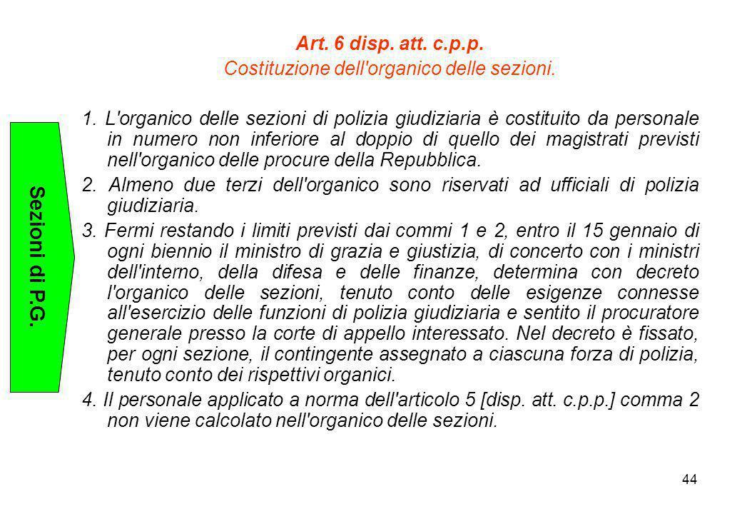 44 Art. 6 disp. att. c.p.p. Costituzione dell'organico delle sezioni. 1. L'organico delle sezioni di polizia giudiziaria è costituito da personale in