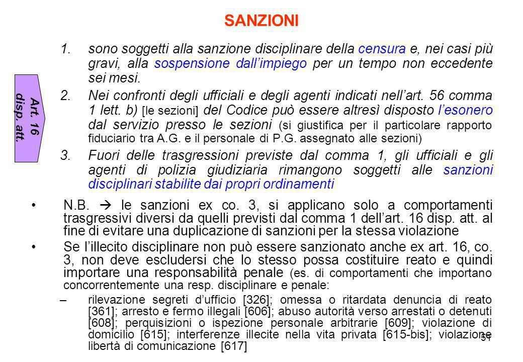 51 SANZIONI 1.sono soggetti alla sanzione disciplinare della censura e, nei casi più gravi, alla sospensione dall'impiego per un tempo non eccedente s