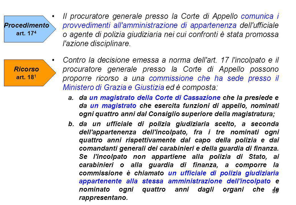55 Il procuratore generale presso la Corte di Appello comunica i provvedimenti all'amministrazione di appartenenza dell'ufficiale o agente di polizia