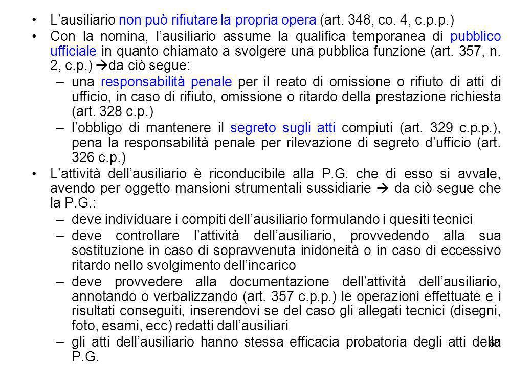 60 L'ausiliario non può rifiutare la propria opera (art. 348, co. 4, c.p.p.) Con la nomina, l'ausiliario assume la qualifica temporanea di pubblico uf