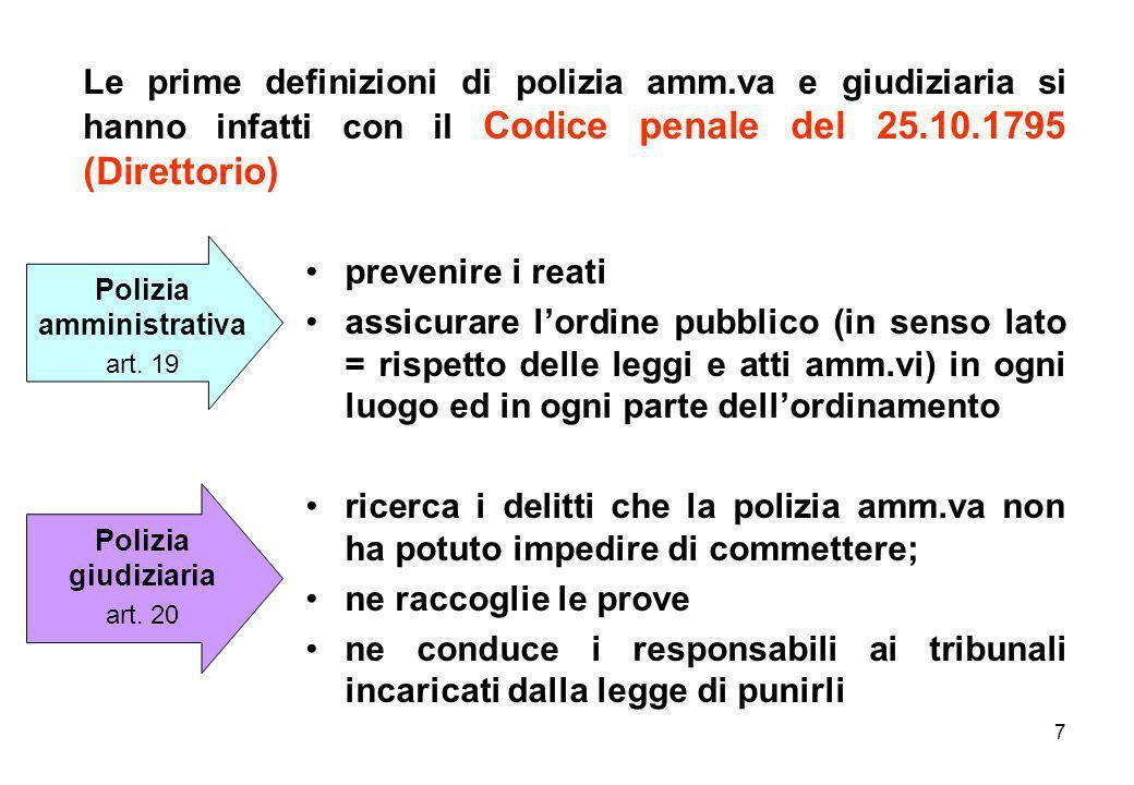7 Le prime definizioni di polizia amm.va e giudiziaria si hanno infatti con il Codice penale del 25.10.1795 (Direttorio) prevenire i reati assicurare