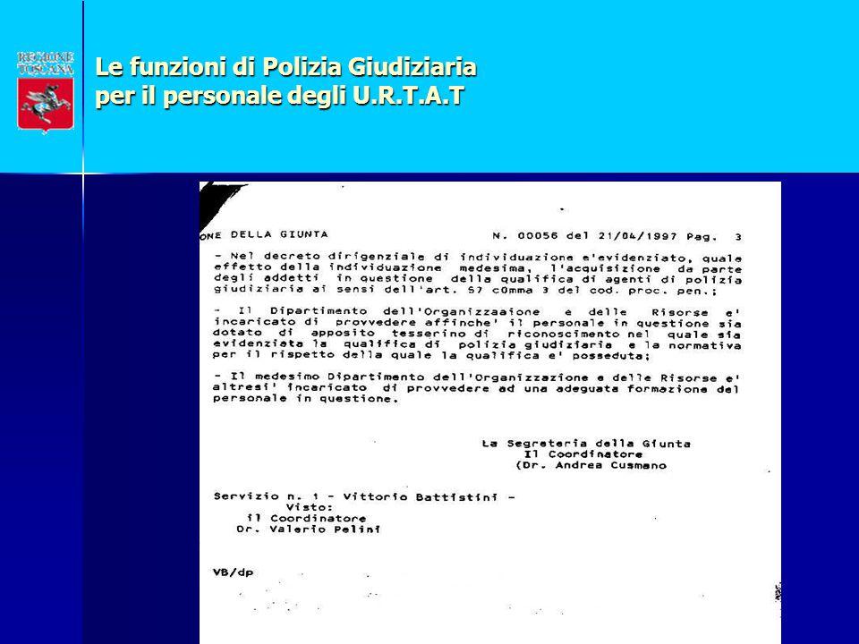 Le funzioni di Polizia Giudiziaria per il personale degli U.R.T.A.T LEGGE REGIONALE 20 gennaio 1995, n.