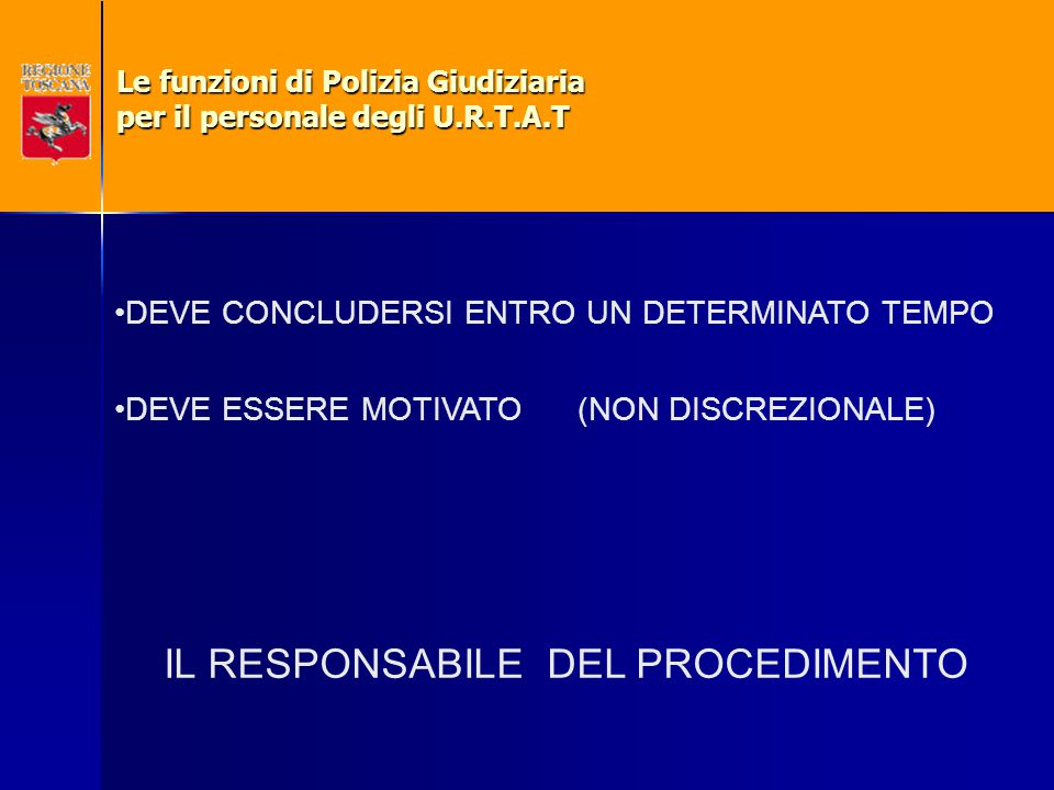 DEVE CONCLUDERSI ENTRO UN DETERMINATO TEMPO DEVE ESSERE MOTIVATO (NON DISCREZIONALE) IL RESPONSABILE DEL PROCEDIMENTO Le funzioni di Polizia Giudiziar