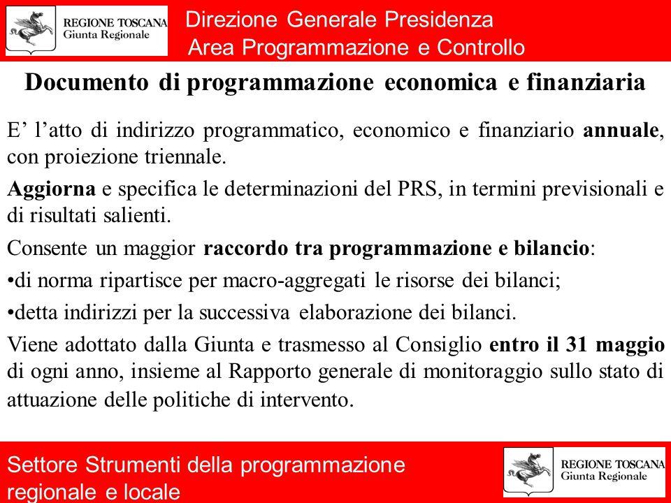 Direzione Generale Presidenza Area Programmazione e Controllo Documento di programmazione economica e finanziaria E' l'atto di indirizzo programmatico, economico e finanziario annuale, con proiezione triennale.