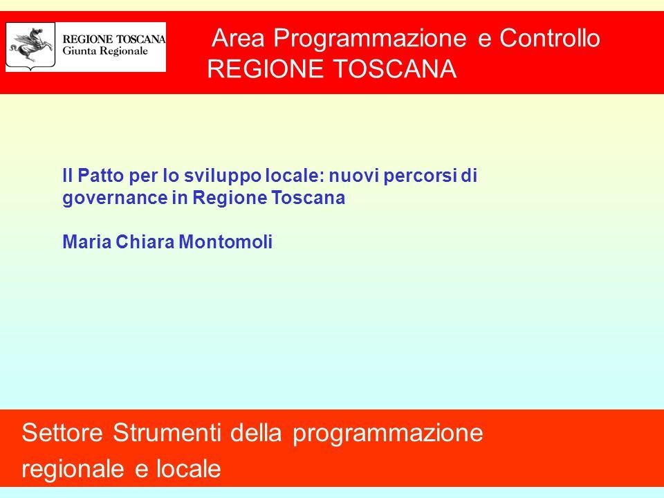 Area Programmazione e Controllo REGIONE TOSCANA Settore Strumenti della programmazione regionale e locale Il Patto per lo sviluppo locale: nuovi percorsi di governance in Regione Toscana Maria Chiara Montomoli