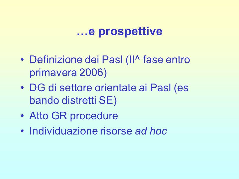 …e prospettive Definizione dei Pasl (II^ fase entro primavera 2006) DG di settore orientate ai Pasl (es bando distretti SE) Atto GR procedure Individuazione risorse ad hoc