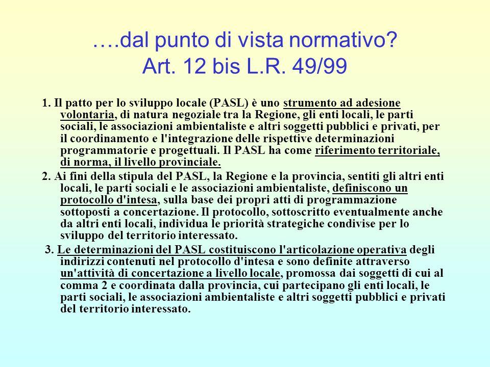 ….dal punto di vista normativo? Art. 12 bis L.R. 49/99 1. Il patto per lo sviluppo locale (PASL) è uno strumento ad adesione volontaria, di natura neg
