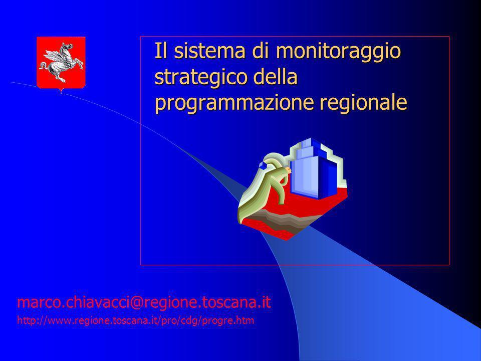 12 componenti del sistema di monitoraggio strategico -i sistemi di monitoraggio dei piani e programmi regionali a carattere specifico (settoriali, intersettoriali, integrati) -il sistema di monitoraggio degli strumenti di pianificazione strategica generale (PRS, DPEF) -i processi di valutazione dei risultati e degli impatti delle politiche regionali perseguite per mezzo dei piani / programmi
