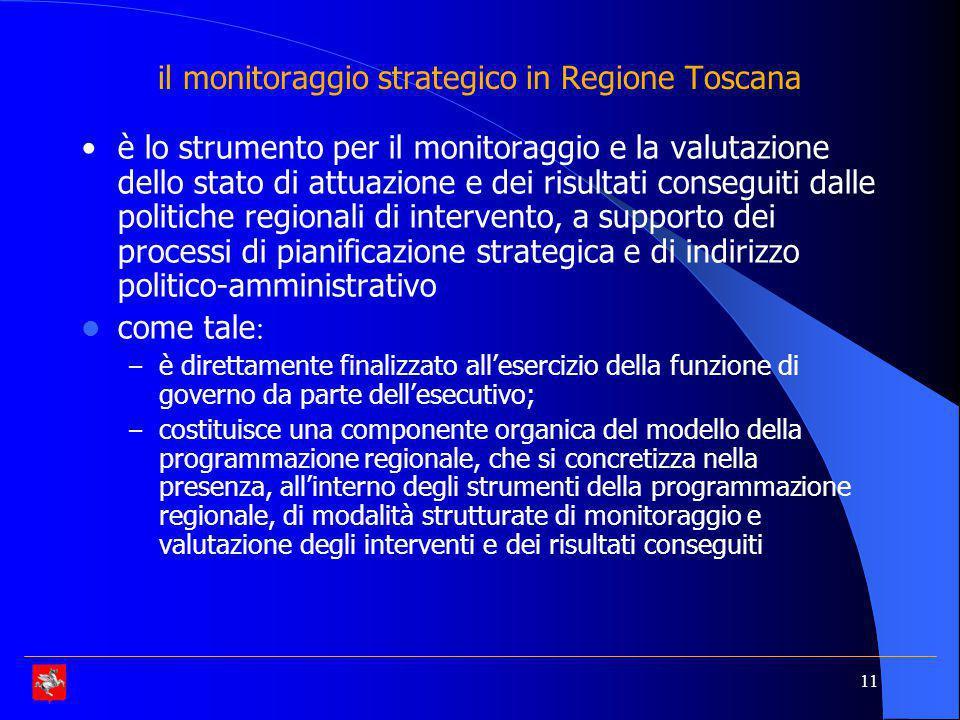 11 il monitoraggio strategico in Regione Toscana è lo strumento per il monitoraggio e la valutazione dello stato di attuazione e dei risultati conseguiti dalle politiche regionali di intervento, a supporto dei processi di pianificazione strategica e di indirizzo politico-amministrativo come tale : – è direttamente finalizzato all'esercizio della funzione di governo da parte dell'esecutivo; – costituisce una componente organica del modello della programmazione regionale, che si concretizza nella presenza, all'interno degli strumenti della programmazione regionale, di modalità strutturate di monitoraggio e valutazione degli interventi e dei risultati conseguiti