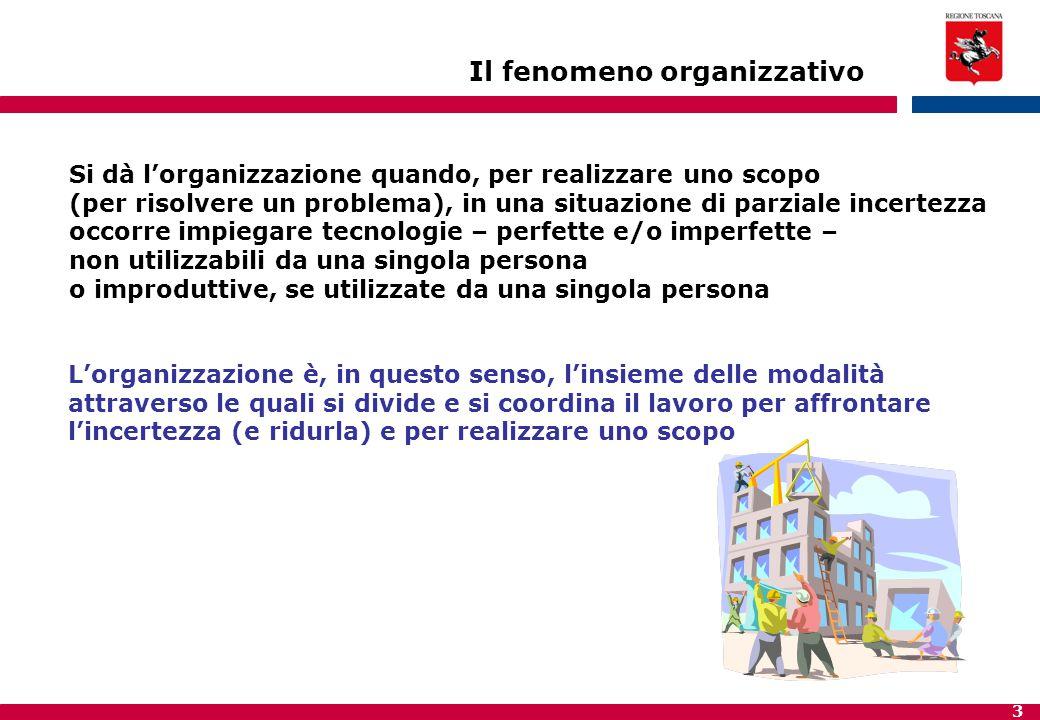 3 Si dà l'organizzazione quando, per realizzare uno scopo (per risolvere un problema), in una situazione di parziale incertezza occorre impiegare tecn